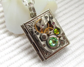 Steampunk book locket necklace watch  movement Swarovski crystals Silver locket Unique gift ideas Gift for Her Womens gift ideas Cosplay