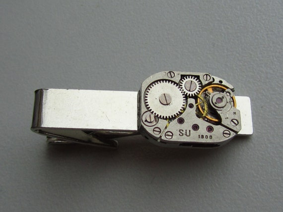 b6385653efce Steampunk Tie Clip with watch movement Gift for Him Tie Bar   Etsy