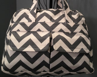 Grey Chevron Diaper Bag - Doctor's Bag Style