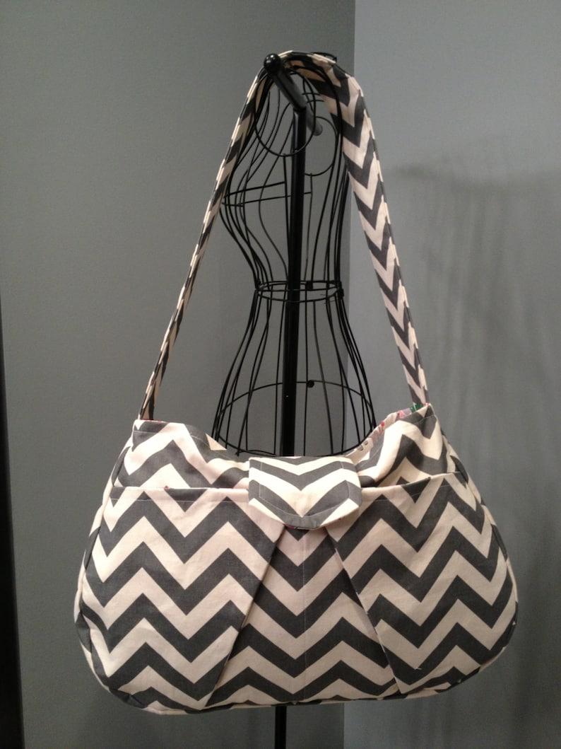Large Hobo Diaper Bag  Grey Chevron Print image 0