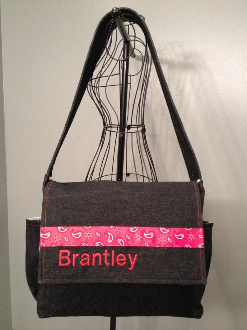 Denim Fabric Messenger Style Diaper Bag