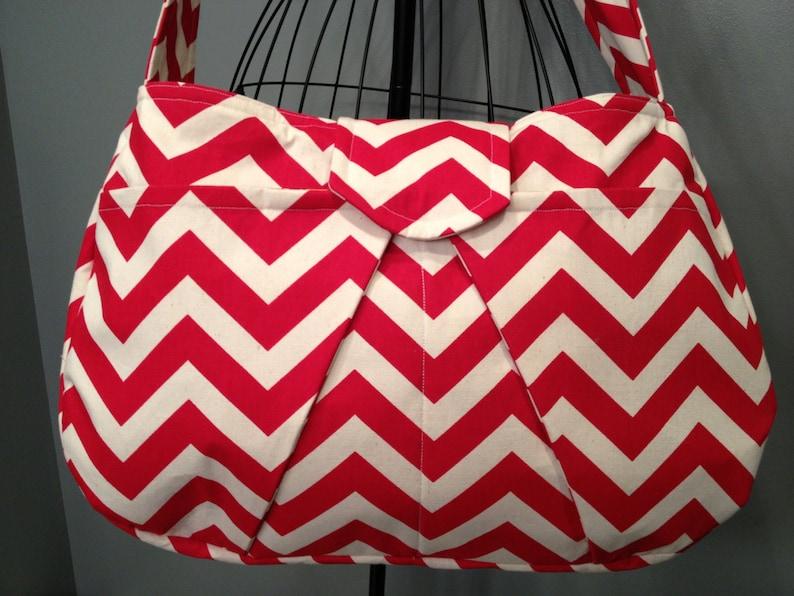 Large Hobo Diaper Bag Red Chevron Print