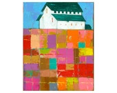 8x10 PRINT of White Barn with Farm Landscape, and an Impasto patchwork field, by Elizabeth Rosen