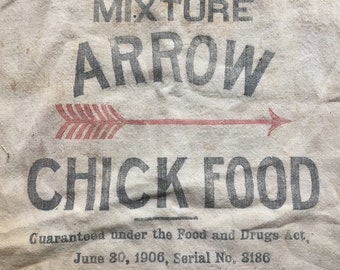 vintage feed sack CHICK FOOD, 14x18 antique feed sack bag, Binghamton, NY collectible, rustic decor nice graphics old advertising, red arrow