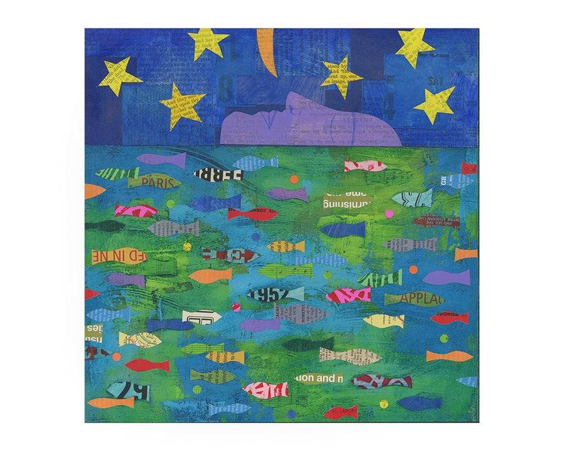 by Elizabeth Rosen FAITH ORIGINAL 11x14 PAINTING fish art fish painting nursery art