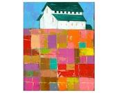 PRINT 8x10    Barn Farm Landscape Impasto patchwork field   by Elizabeth Rosen