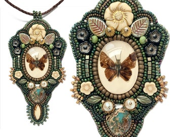Moth Butterfly bead embroidered garden necklace, romantic boho bead embroidery pendant by Elizabeth Rosen