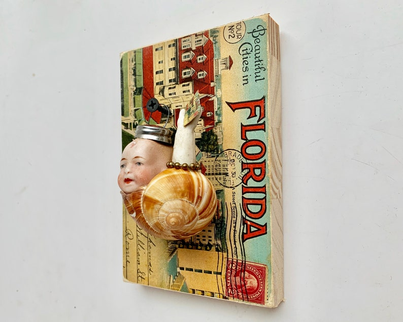 Snail Mail an altered assemblage art doll ornament handmade unusual Christmas ornament by Elizabeth Rosen
