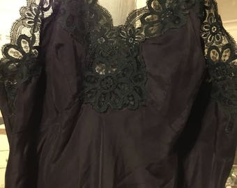 1950s 1960sBlack Lace Slip Dress Lingerie