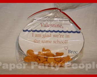 """Valentine's Day Class Party """"I'm Glad We're in the Same School"""" Printable DIY Treat/Bag Tag, Fishbowl, Fish"""