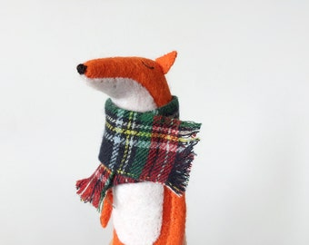 Felt Fox In Tartan Scarf, Fox Stuffed Animal, Fox Toy, Woodland Softies, Felted Miniature Animals, Woodland Animals, Stuffed Toys Felted Fox
