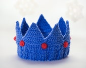Knit royal blue Crown Tiara Headband for Dress Up, Pretend Play, Birthday, Child Crown, Baby Crown, Woman Crown, Christmas