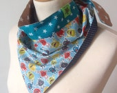 Little Boy reversible Kerchief Summer Hat Bandana Headscarf bib Garden Scarf Head Wrap