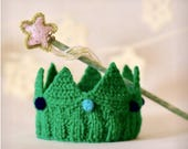 Wand and crown set Knit Emerald green Crown Tiara Headband