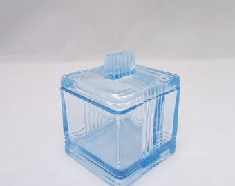 Vintage Square Trinket Box, Blue Glass Square Trinket Box, Blue Glass Jewellery Box