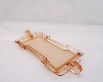 Vintage Czechoslovakia Dressing Table Tray, Pink Glass Tray, Rare Czechoslovakia Pink Glass