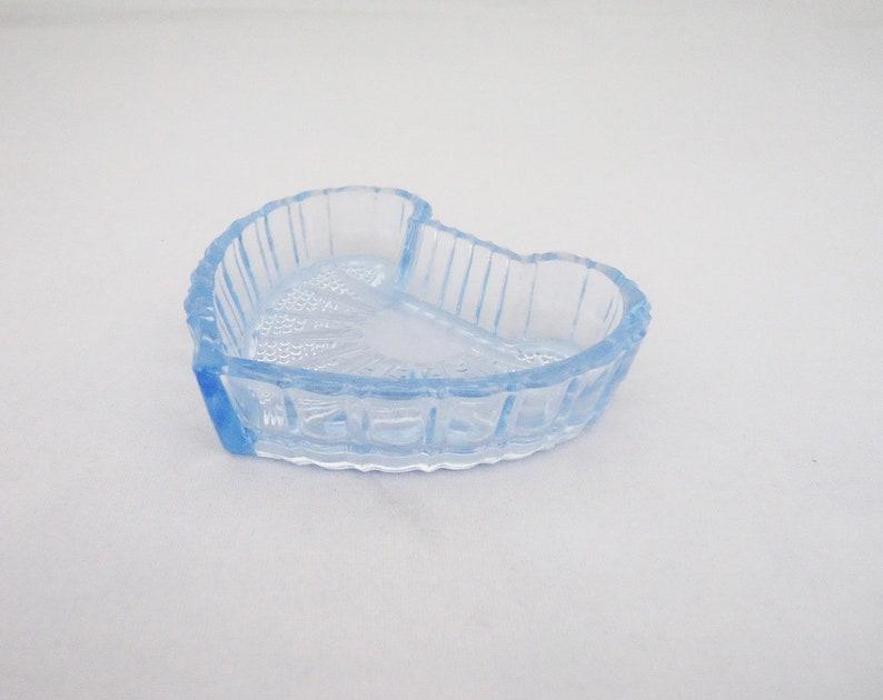 Blue Glass Jewellery Dish Heart Shaped Dish Czechoslovakia Blue Glass Ring Dish Art Deco Blue Glass Dish