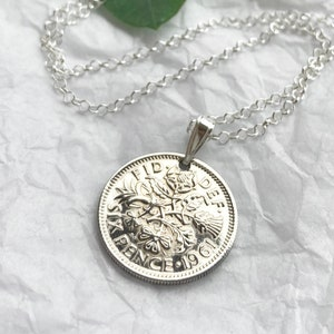Beautiful 1949 Enamel Lucky Sixpence Coin Pendant and Necklace 70th Birthday Gift Gift for mom or Nan