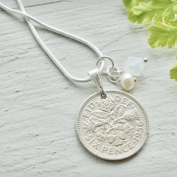 Lucky Sixpence Bracelet Coin Jewelry Wedding Anniversary Gift for Mother 1953-1967 Silver Coin Charm Wife