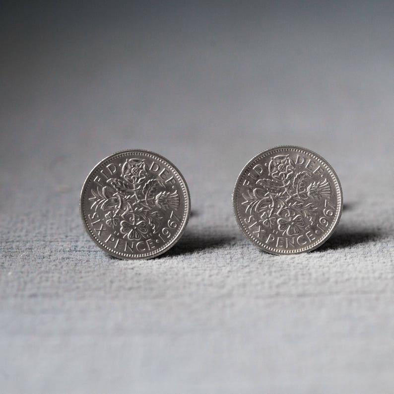 Mens Gift Usher Gift Soldered Silver Sixpence Custom Cuff Links Silver Anniversary Wedding Keepsake Gentleman/'s Accessories