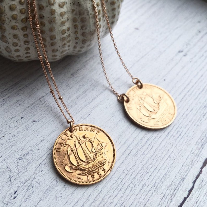 60th Birthday Gift for Women, 1959 Half Penny Necklace, Rose Gold Necklace,  Birth Year Necklace, 60th Coin Necklace, Gifts for women