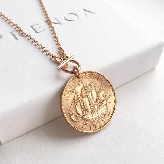 8th Wedding Anniversary Ideas, Bronze Half Penny Necklace, Rose Gold Coin  Necklace, Gift for Wife Layer Necklace 8th Wedding Anniversary