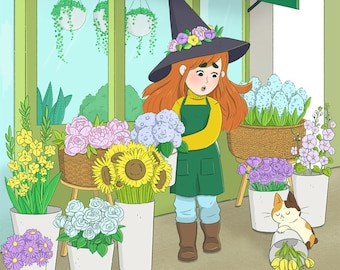 Witch's Flower Shop Large Art Print // illustration, digital print, 8x10, plants, gardening, florist, girl, store front, cozy, witch, cat