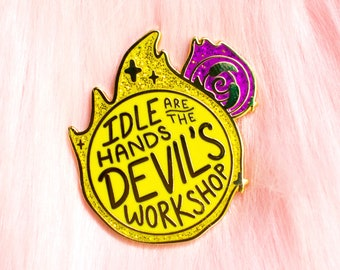 Overwatch Moira Glitter Orbs Hard Enamel Pin // Idle Hands, gold, hero, healer, lapel, badge, brooch, kawaii, cute, gaming, gamer