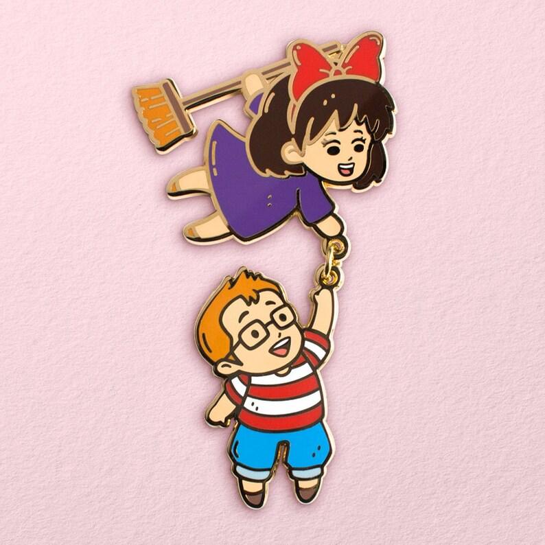 Kiki & Tombo Hard Enamel Pin // Studio Ghibli Kiki's image 0
