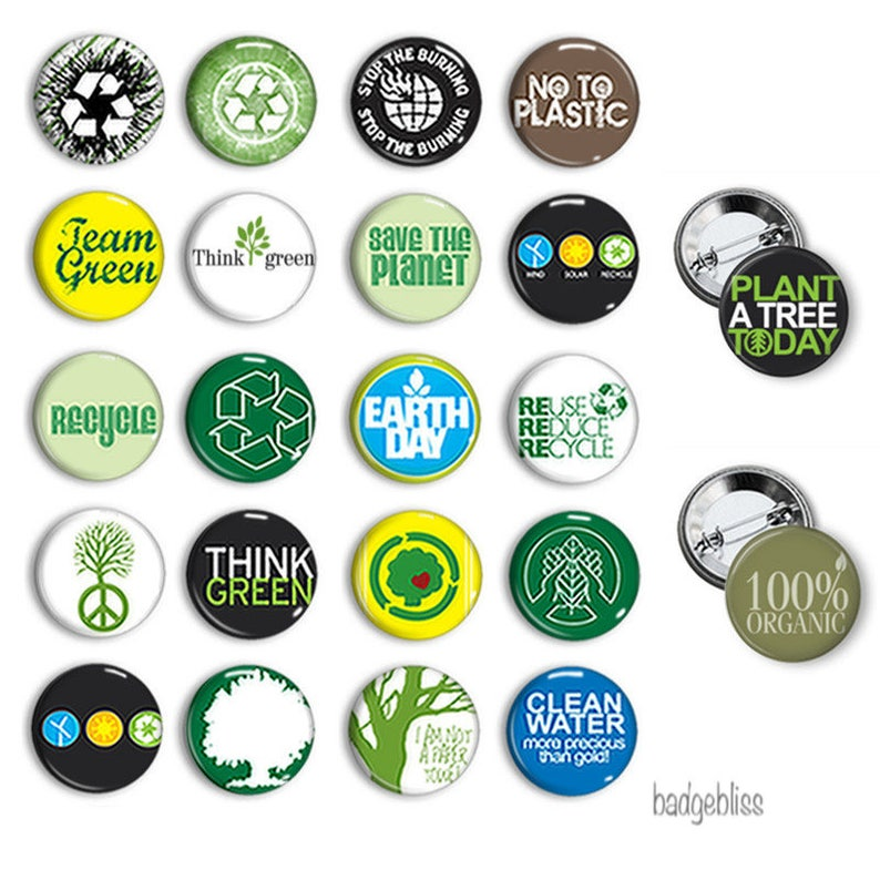 Recycle pinback button badges