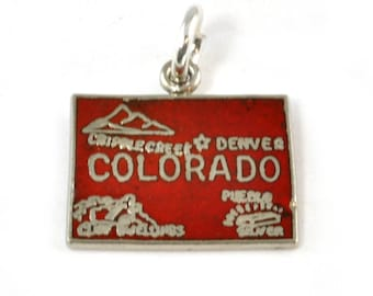 Vintage Charm - Sterling Silver State of Colorado Charm for Bracelet with red Enamel - Fort - Traditional Charm - Souvenir Colorado Vacation