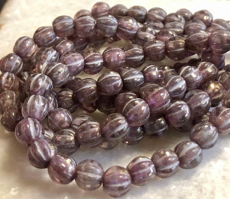 Czech Melon Bead 6mm Large Hole Thistle Silver Wash 1 Strand