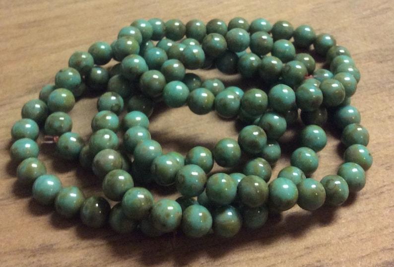 1 Strand Czech Glass Druk Opaque Green 6mm Round Beads