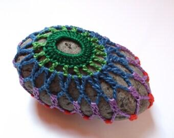 Festival Boho Lace Stone, Crochet Mandala, Doily Rock, Hippie Gift, Bohemian Decor, Lace Covered Rock, Handmade Paperweight, Fiber Art