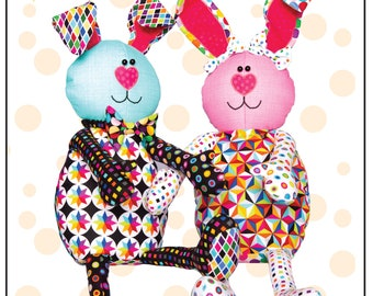 Bunny Pajama Bag Pattern for children's bedroom decor or stuffed dolls with zippered pocket.
