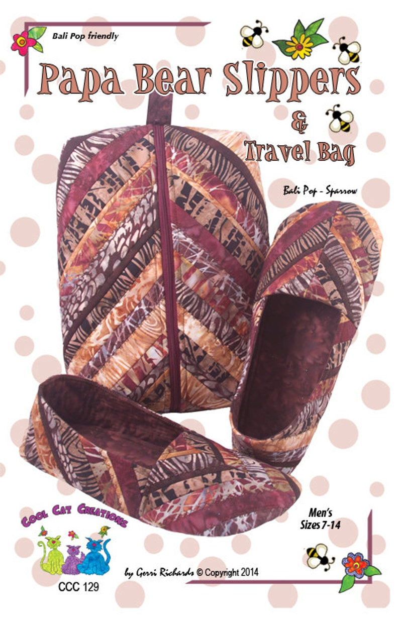 best shop cozy fresh Papa Bear Slippers & Travel Case Pattern, Quilted Slippers and Travel Bag  for Men by Cool Cat Creations