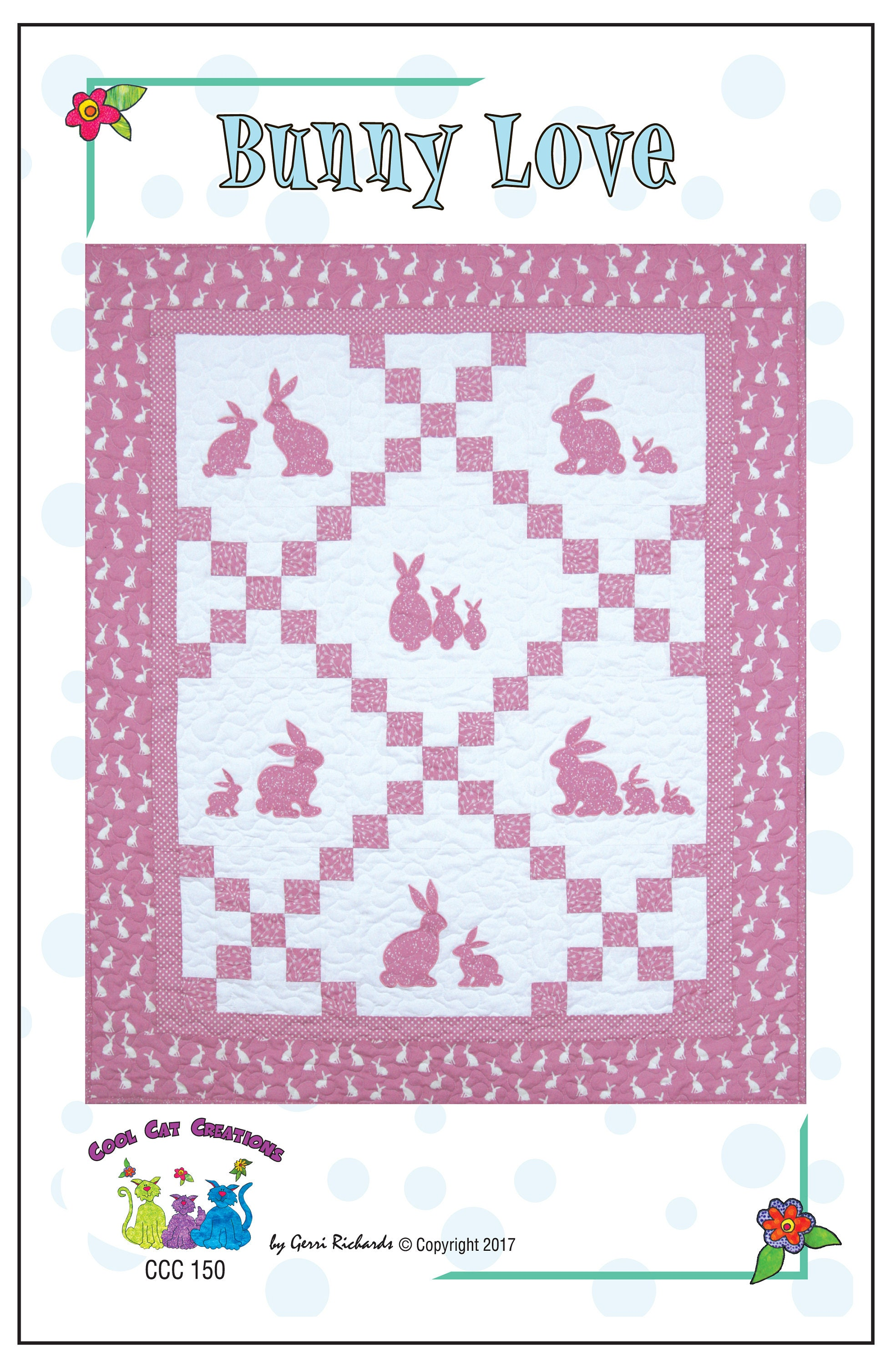 Bunny Love Quilt Pattern Sizes For Baby Crib and Single Quilt | Etsy
