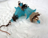 Lucite Flower Earrings - Vintage Style - Copper - Turquoise - Wedding