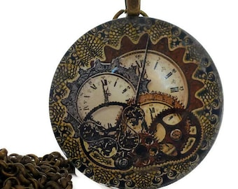 """Steampunk Necklace 38mm Steampunk Pendant, Brown Clock and Gear Necklace Vintage Antique Brass 1.5"""" 38mm Glass Tile Necklace"""