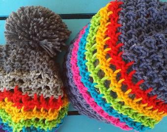 b0ccb05fcea Rainbow Slouchy Mesh Knit Hat - Hawaiian Pride Rainbow Beanie