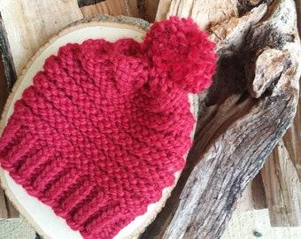 8f635c1f43e Red Knit Hat with Pom Pom - Team Zissou - Klaus - Valentine s Day Present