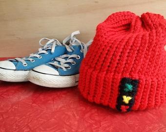 42fb320fa85 Red Knit Hat Beanie with Stoplight Zissou Inspired - Life Aquatic with Steve  Zissou - Kingsley Zissou -Zissou Society - Team Zissou