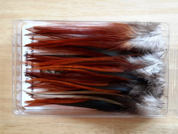 """50 RED DYED FURNACE ROOSTER SADDLE CRAFT HAIR FEATHER 5/""""-6/""""L"""