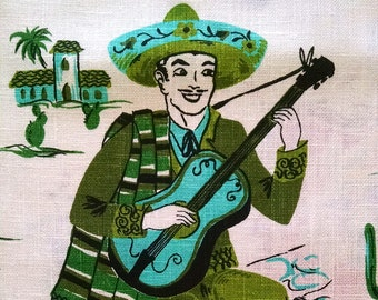 Vintage Mexican Mariachi Towel from 1950's  Kitchen Dishtowel Hispanic Turquoise Green