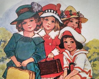 Vintage Girl Paper Dolls Pat Queen Holden  Reproduction Dollies on Their Travels Merrimac Publ 1984