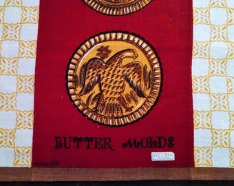 Vintage Kitchen Dish Towel 1950's Unused Signed by Designer Virginia Zito MCM Butter Molds