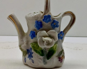 Vintage Elfinware MiniatureFloral Teapot from Germany Roses & Forget Me Nots