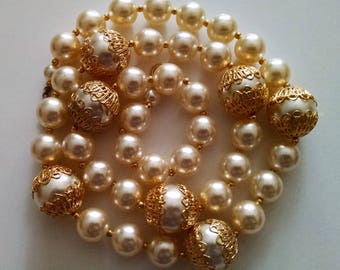 Vintage 1980's White Pearl  Gold Filligree Necklace 28.5 Inches Long Very Classy!