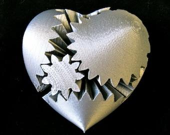 Steampunk Rotating Gear Heart (3D Printed)