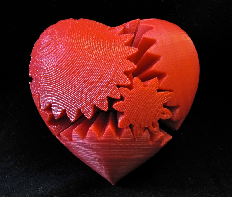 Valentines Day Gift Love 3D Printed Rotating Heart Gear image 0